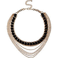 Black woven layered chain necklace
