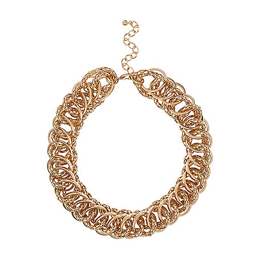 Gold tone chunky chain chain necklace