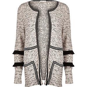 Beige boucle knit fringe trim cardigan