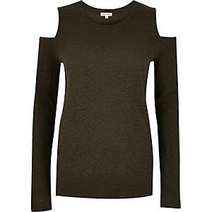 Khaki cold shoulder top