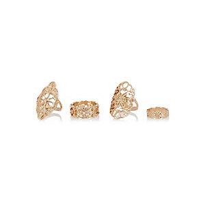 Gold tone filigree rings pack