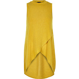 Yellow knitted wrap front sleeveless top
