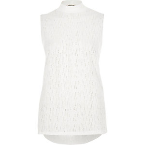 White holey sleeveless top