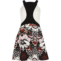 Black crepe floral print fitted dress