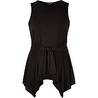Black knotted front sleeveless top