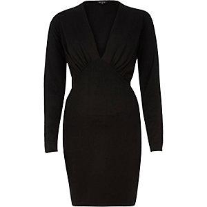 Black plunge neck bodycon mini dress