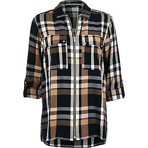 Navy check zip-up shirt