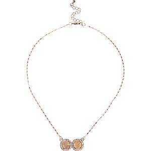 Gold tone double coin necklace