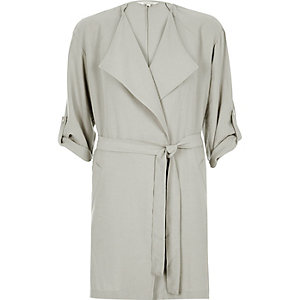 Light grey tie front jacket