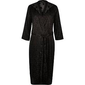 Black silky jacquard long robe