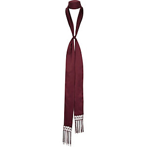 Red long skinny tassel scarf