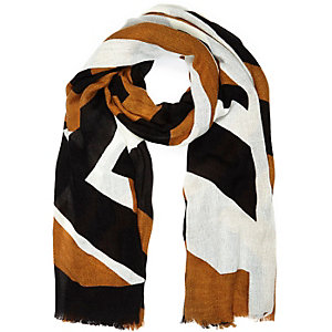 Brown printed long scarf