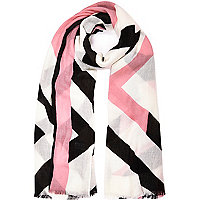 Pink printed long scarf