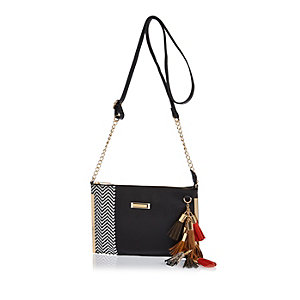 Black tassel cross-body bag