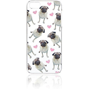 Clear pug print iPhone 5 phone case