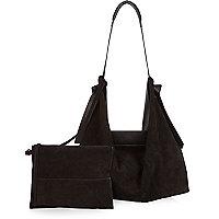 Black large suede leather slouchy handbag