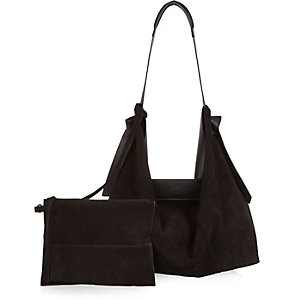 Black large suede leather slouchy handbag