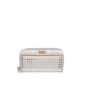 Silver laser cut zip purse