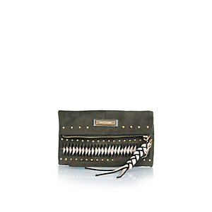 Dark green studded purse