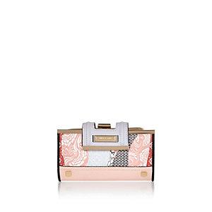 Pink floral print purse