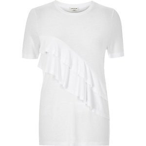 White frill front fitted t-shirt