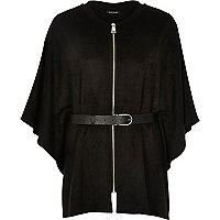 Black faux suede belted cape