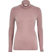 Light pink roll neck long sleeve top