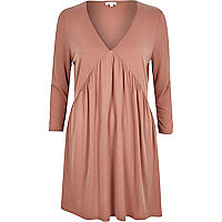 Pink jersey pleated long sleeve dress