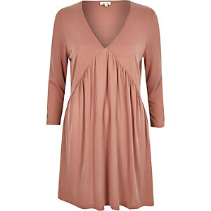 Pink jersey pleated long sleeve dress