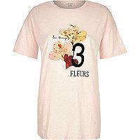 Pink three flower print oversized t-shirt