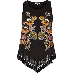 Black floral print tassel hem tank top