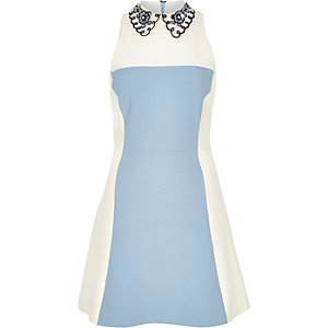 Blue crepe color block collared dress