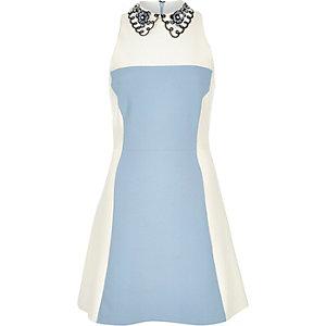 Blue crepe color block collared dress