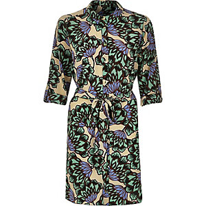 Green jungle print shirt dress