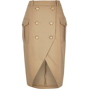 Camel brown military button pencil skirt