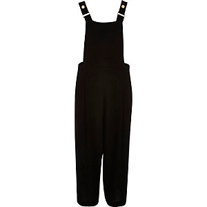 Black textured culotte overalls