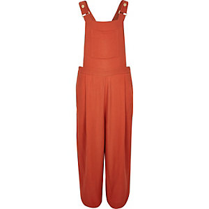 Orange textured culotte overalls