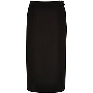 Black wrap front belted midi skirt