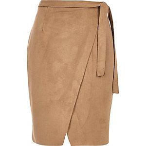 Brown faux suede tie waist skirt