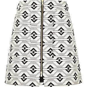 Black geometric A-line skirt