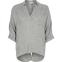 Grey split back blouse