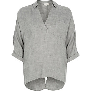 Grey split back blouse