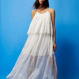 RI Studio white layered maxi dress