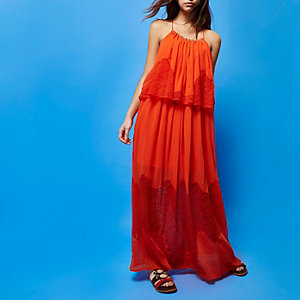 RI Studio red layered maxi dress