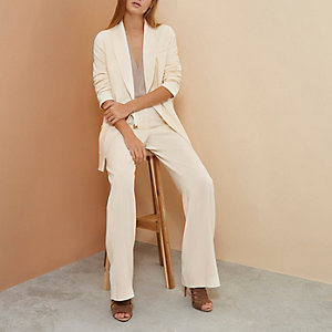 Cream RI Studio wide tux trousers