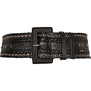Black wide snake print belt