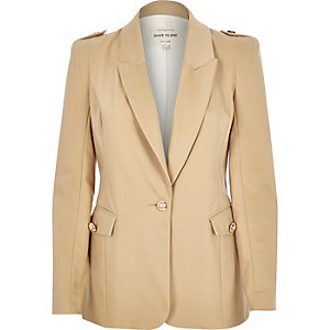 Camel military fitted blazer