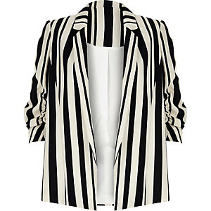 Navy stripe ruched sleeve blazer