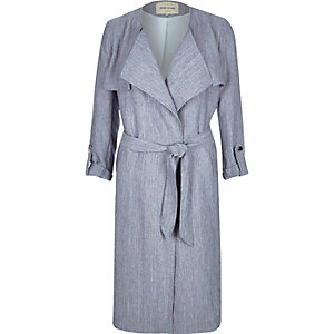 Navy lightweight belted trench coat