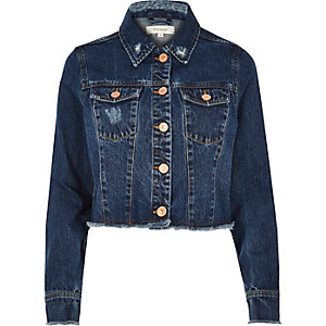 Dark blue wash frayed hem denim jacket